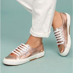 Superga rose gold Cotmetu lace up sneaker SZ 6.5